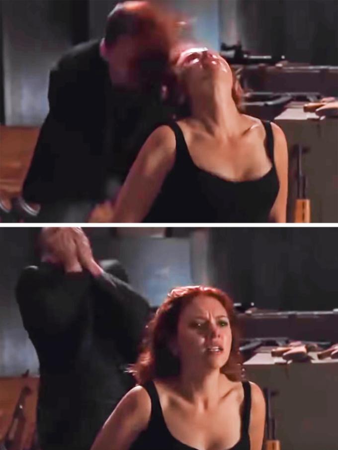 <p> Hóa ra, tóc của Black Widow cũng là một vũ khí giết người. Trong <em>The Avengers</em>, kẻ xấu bị đánh bại chỉ vì tóc của Black Widow... hất vào mặt anh ta.</p>