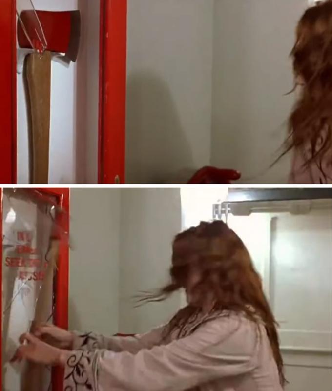 <p> Khi Rose quay lại con tàu Titanic đang chìm để cứu Jack, cô phá vỡ tấm kính để lấy chiếc rìu thoát hiểm. Thực chất trong cảnh phim ngay trước đó, tấm kính đã được đập vỡ sẵn rồi.</p>