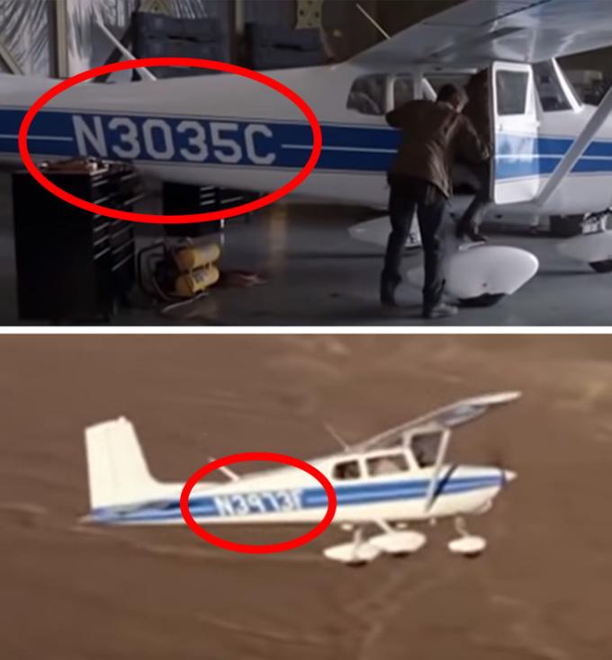 <p> Trong <em>Kẻ hủy diệt 3: Người máy nổi loạn</em>, các nhân vật bước lên máy bay có số hiệu N3035C. Nhưng khi máy bay cất cánh, dãy số bỗng dưng biến thành N3973F.</p>
