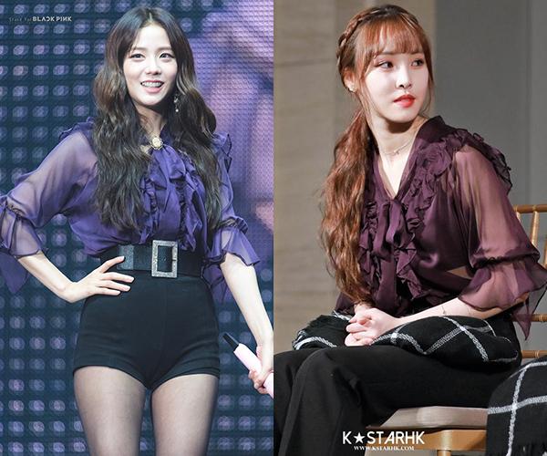 Mới đây, Jisoo (Black Pink) đã diện mẫu áo bánh bèo màu tím của Sez-Wich, cô nàng phối cùng quần short đen và thắt lưng bản to, biến tấu thêm phụ kiện cho phần nơ áo, cùng với đôi khuyên tai nổi bật. Trông Jisoo vừa dịu dàng lại cá tính. (Hình 3)   Item có mức giá rẻ (gần 800k) này cũng được lòng Yuju (GFriend) nhưng cô lại có cách phối đơn giản hơn,  khi kết hợp với quần đen basic, cùng với cách làm tóc trông  cô nàng đầy nữ tính và dịu dàng. (Hình 4)