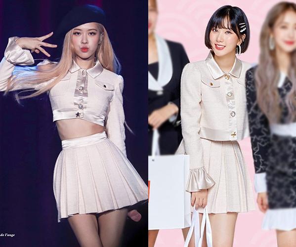 Cùng một set váy trắng của thương hiệu Charms,Rosé (Black Pink) và Eun Ha (GFriend)