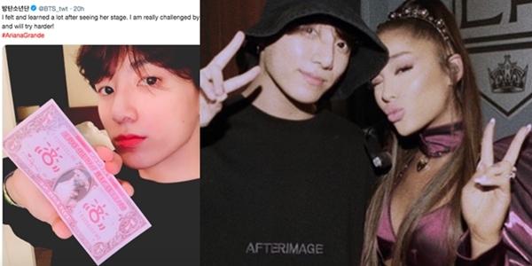 Jung Kook từng chia sẻ cảmKhoảnh khắc chụp chung tại hậu trường concert của Ariana và em út BTS đang là tâm điểm chú ý của cộng đồng fan nhạc thế giới.
