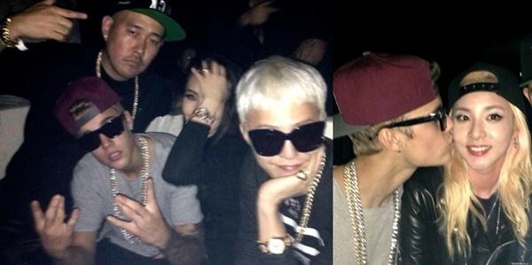 Trong một dịp ghé thăm Hàn Quốc, Justin Bieber đã vui tới bến tại club cùngG-Dragon (Big Bang), CL, Dara (2NE1).