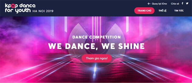 Giao diện website của cuộc thi Kpop Dance For Youth Hanoi 2019.