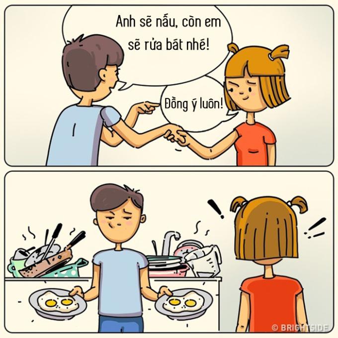 <p> Mỗi lần chàng vào bếp là để lại một đống lộn xộn cho bạn xử lý.</p>