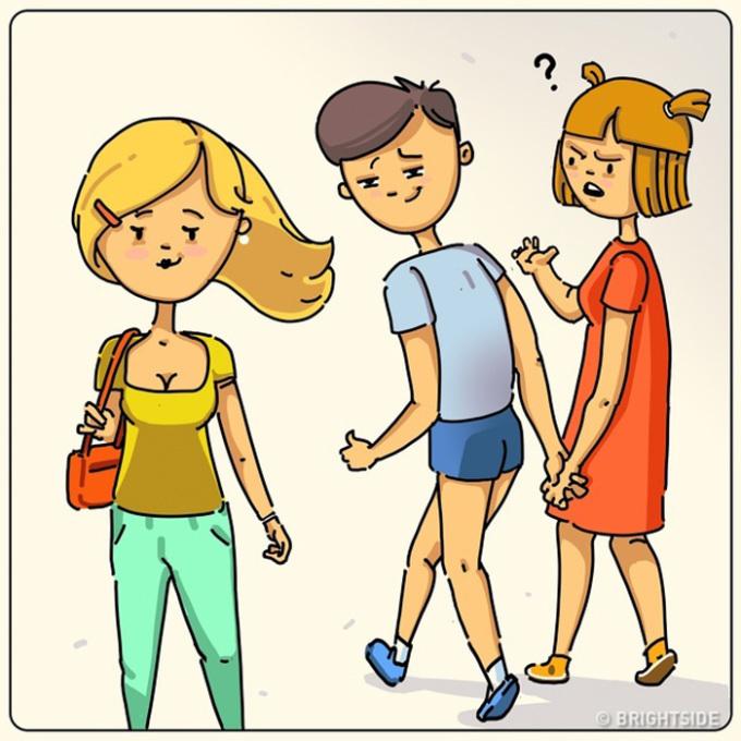 <p> Dù đang đi với bạn gái, họ vẫn đảo mắt và ngắm các cô gái quanh mình.</p>