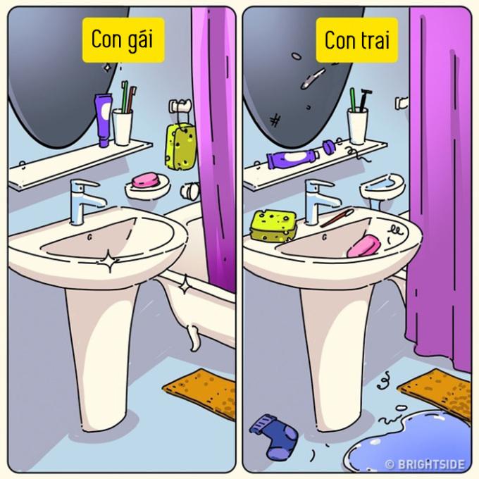 """<p> Phòng vệ sinh thì """"mỗi thứ một nơi"""".</p>"""
