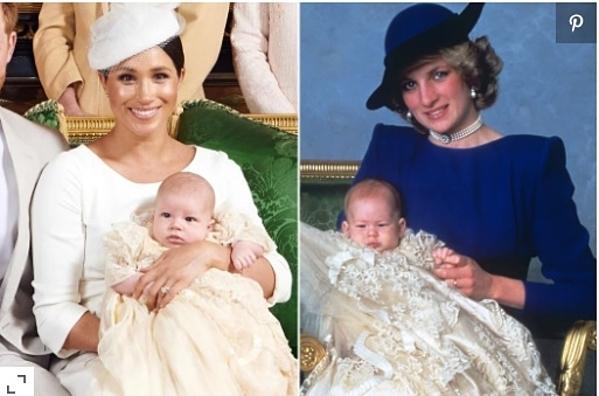 Bộ trang phục do Meghan chọn mặc cho con trai trong ngày Lễ rửa tội còn được khen là tiếp nối truyền thống hoàng gia vì giống với bộ của bố - Hoàng tử Harry.