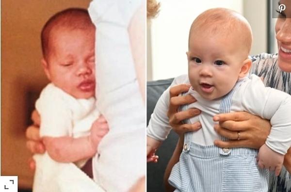 Một góc chụp khác của hoàng tử Harry ngày nhỏ và Archie (phải).