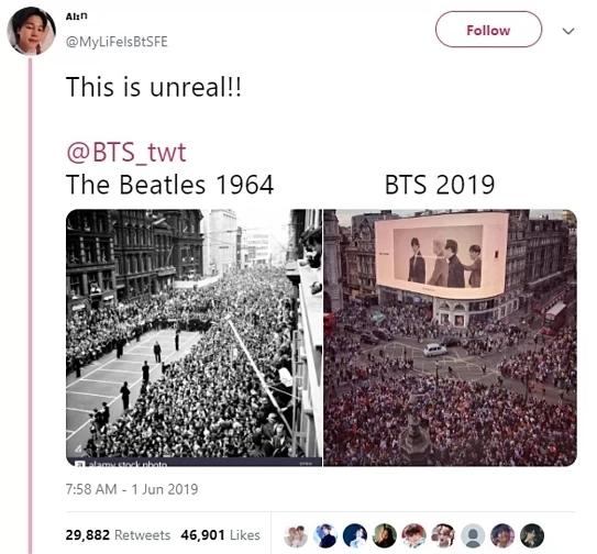 Hồi tháng 5/2019, hình ảnh đám đông fan tập trung xem video quảng cáo của BTSgây tắc đường tại Londonkhiến nhiều người nhớ đến The Beatles năm 1964.