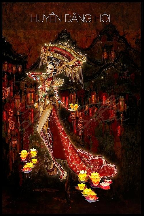 Phác họa trang phục dân tộc của Kiều Loan tại cuộc thi.