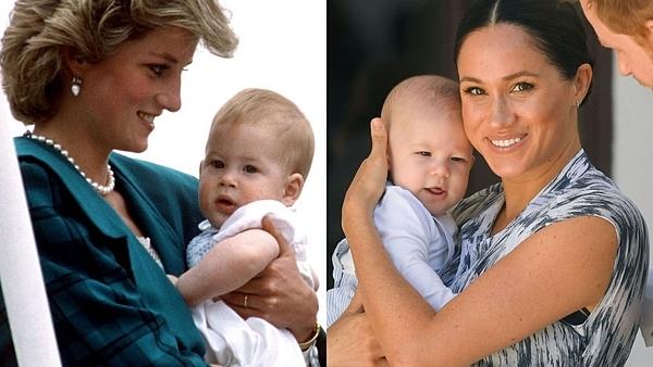 Cố công nương Diana ẵm hoàng tử Harry (ảnh trái) được so sánh với ảnh bé Archie được mẹ Meghan bế.
