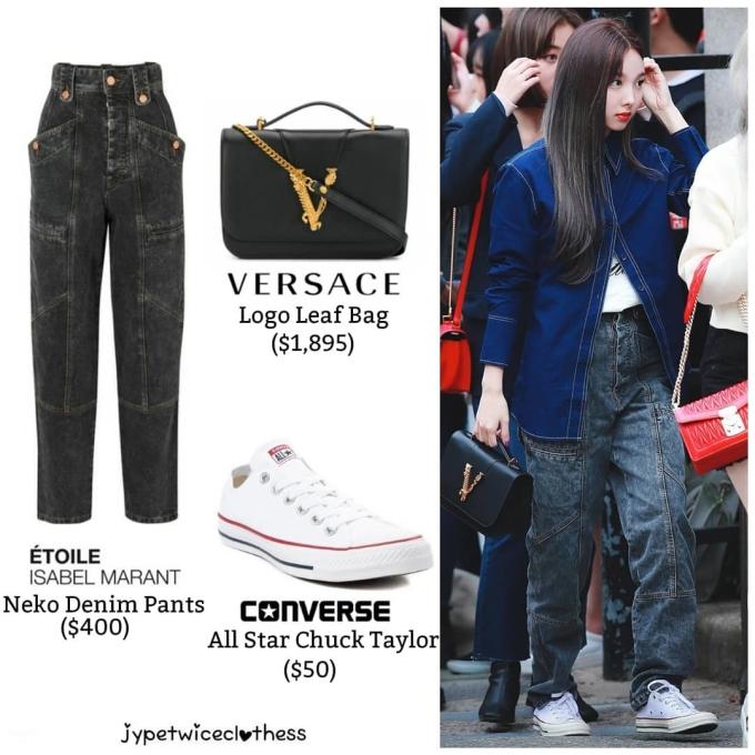 <p> Sáng 27/9, Twice tham dự sự kiện Music Bank. Na Yeon diện set đồ denim năng động, giày thể thao. Chị cả của Twice khẳng định đẳng cấp với túi của Versace giá 1.895 USD (khoảng 44 triệu đồng).</p>