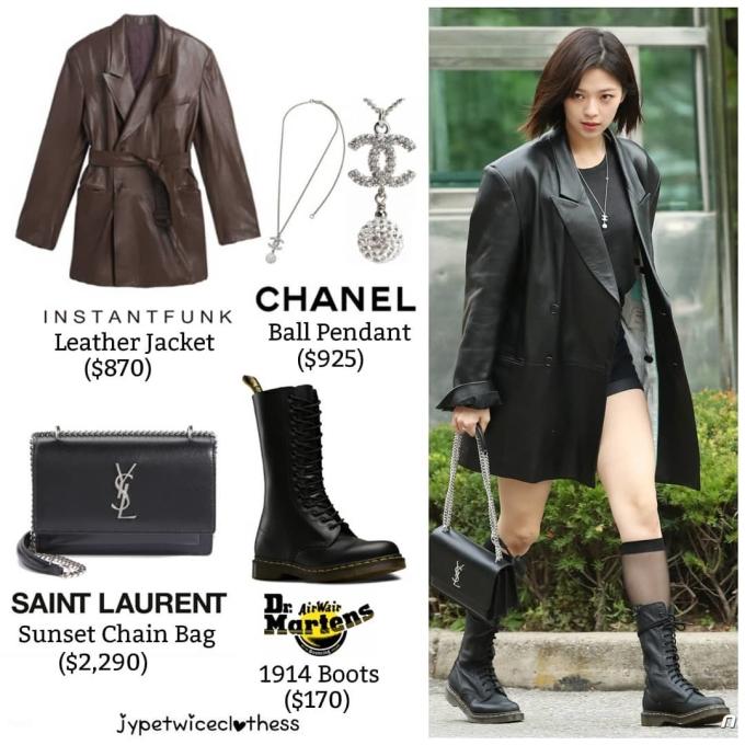 <p> Jeong Yeon chính là thành viên có gu thời trang chất nhất với set đồ da. Chiếc túi dây xích của thương hiệu YSL là phụ kiện cực hợp với concept trang phục đi làm của nữ ca sĩ. Item này giá 2.290 USD (khoảng 53 triệu đồng).</p>