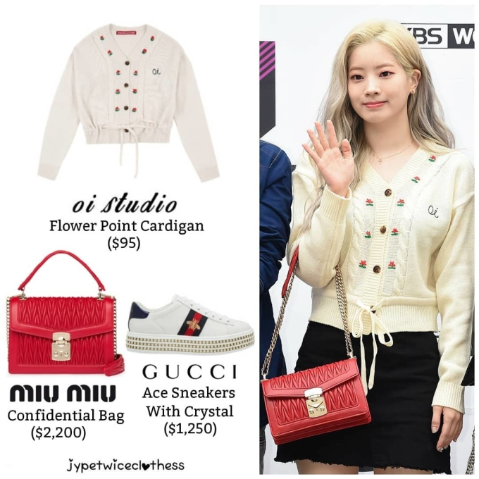 <p> Da Hyun thích những thiết kế có phần nữ tính, ngọt ngào. Túi Miu Miu đỏ rất hợp với họa tiết trên áo của thành viên Twice. Sản phẩm này có giá 2.200 USD (khoảng 51 triệu đồng).</p>