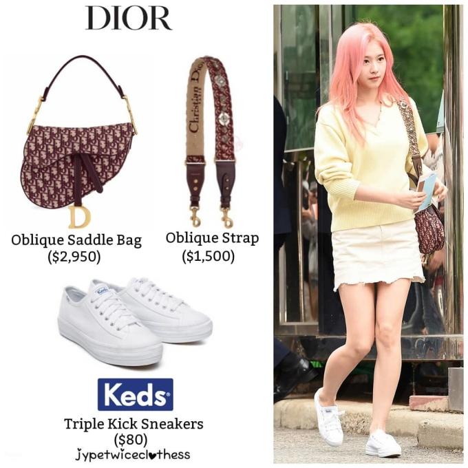 <p> Túi Dior yên ngựa là hot item trong thời gian vừa qua vì có thiết kế độc đáo, sang chảnh. Sana sử dụng phụ kiện có giá đắt đỏ, 2.950 USD (khoảng 68,5 triệu đồng).</p>