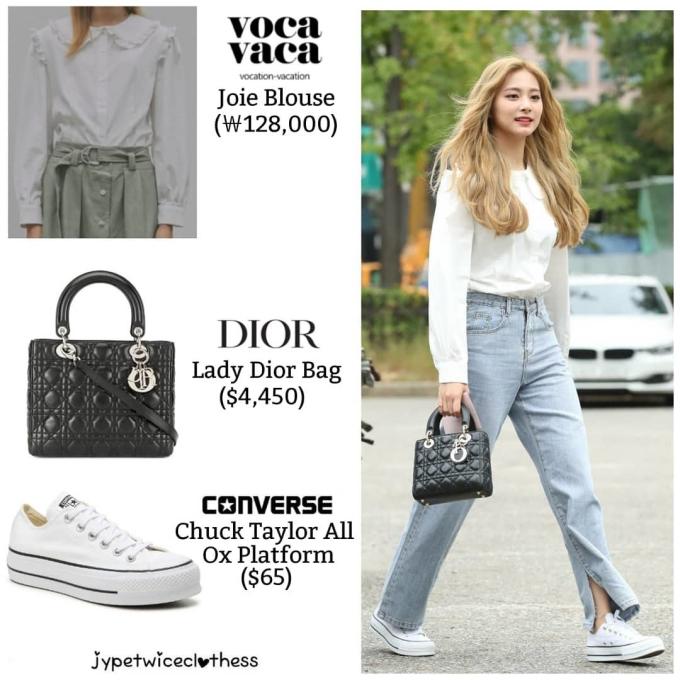 <p> Những thiết kế cơ bản của Dior chưa bao giờ lỗi mốt, dễ phối đồ. Tzuyu tạo điểm nhấn cho set đồ với phụ kiện đắt nhất nhóm, giá 4.450 USD (khoảng 103 triệu đồng).</p>