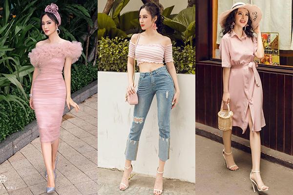 Khi xuống phố, người đẹp 24 tuổi chuộng trang phục mang tông hồng pastel nhẹ nhàng.
