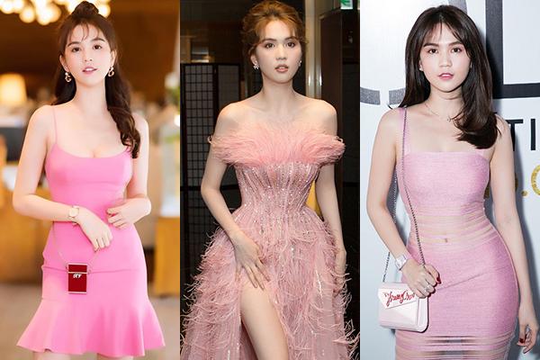 Những chiếc váy hồng sang chảnh, tôn dáng được Ngọc Trinh tích cực diện đi sự kiện.