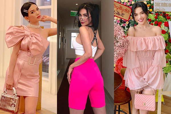 Phong cách đời thường của bạn gái Huỳnh Phương cũng tràn ngập tông hồng xinh xắn. Sĩ Thanh cho thấy sự đa dạng khi có thể diện gam này theo nhiều cách, từ sang chảnh đến đáng yêu hay hầm hố.