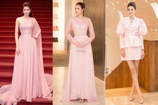 Từ khi còn hoạt động ở Việt Nam, Phạm Hương đã có tình yêu to lớn với màu hồng. Những bộ váy mềm mại, nhẹ nhàng được người đẹp ưa chuộng khi đi tiệc.