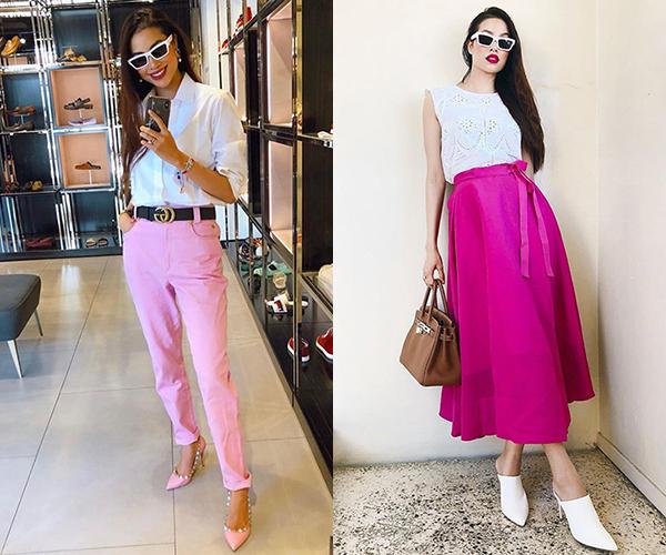 Để phù hợp với những trang phục rực rỡ, Phạm Hương chuộng trang điểm môi hồng sen hoặc hồng fuchsia.
