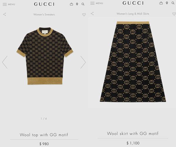 Trang phục của giọng ca 9x được biến tấu từ một bộ cánh của Gucci, gồm áo len tay ngắn và chân váy dài quá gối. Thiều Bảo Trâm chịu chi gần 50 triệu đồng để sở hữu hai món đồ này.