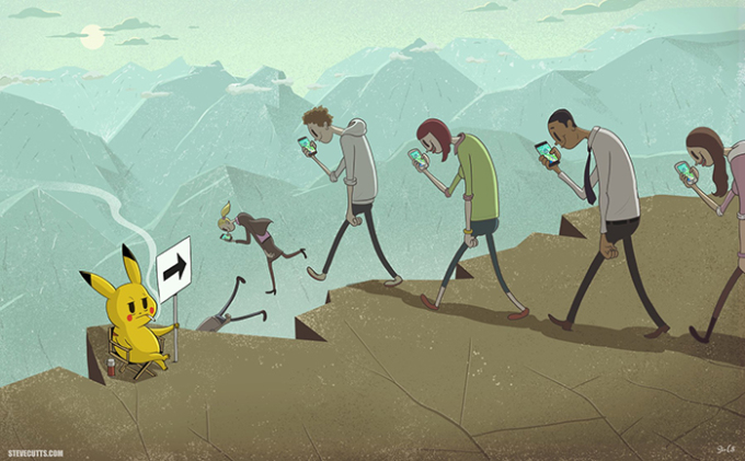 <p> Cùng đi bắt Pikachu nào! <em>Tranh: Steve Cutts.</em></p>