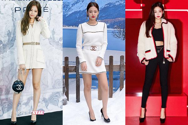 Ở những lần tham dự show hay sự kiện của Chanel trước đó, Jennie luôn mang đến vẻ ngoài kiêu sa, cổ điển. Cô nàng chuộng trang phục vải tweed, đi kèm là giày cao gót cơ bản và lối trang điểm môi đỏ.