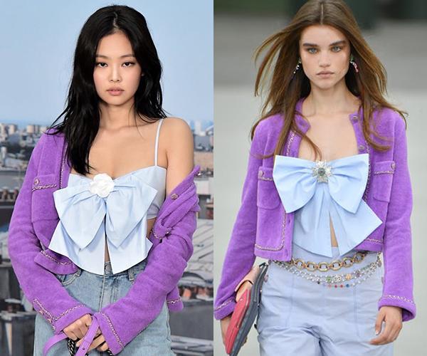 Khi so sánh với người mẫu trên sàn diễn Chanel Cruise 2020, người đẹp sinh năm 1996 bị chê lép vế. Trang phục của Jennie có chi tiết nơ xộc xệch, thiếu cứng cáp so với bản gốc, kèm theo đó là phần đá đính giữa ngực bị thay bằng bông hoa vải. Nhiều người so sánh bộ đồ của Jennie trông như thực tế của... mua hàng qua mạng.