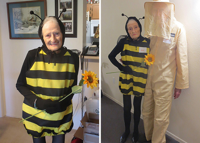 """<p> """"Con ong"""" và người nuôi ong dễ thương nhất!</p>"""