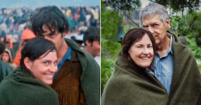<p> Một cặp vợ chồng ở Woodstock sau 48 giờ khi họ gặp nhau và 50 năm sau.</p>