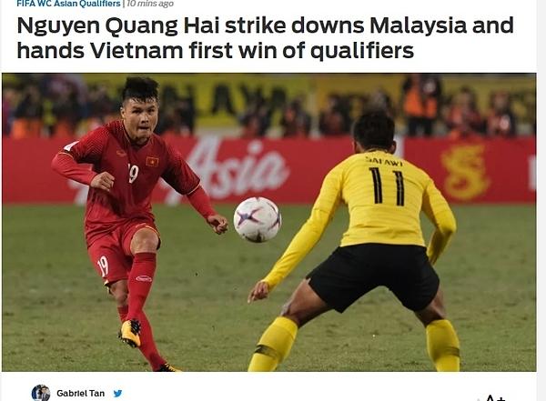 Tờ thể thao Fox Sports viết về bàn thắng của Quang Hải, trận Việt Nam - Malaysia tối 10/10.