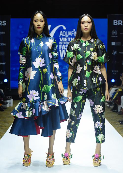Chất liệu dân gian, kết hợp giữa truyền thống và hiện đại tiếp tục được mang vào những thiết kế của Thủy Nguyễn.