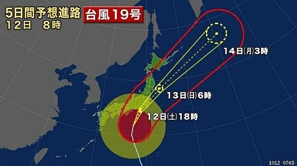 Đường di chuyển của bão Hagibis. Ảnh: NHK.