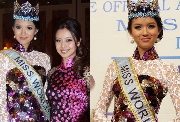 Năm 2008, khi đến Việt Nam để tham dự lễ công bố tổ chức Miss World 2010 tại Nha Trang, người đẹp Trương Tử Lâm cũng diện bộ áo dài đính sequin lấp lánh, sang trọng. Hoa hậu Thế giới 2007 chia sẻ cô cảm thấy rất tự tin khi mặc chiếc áo này.
