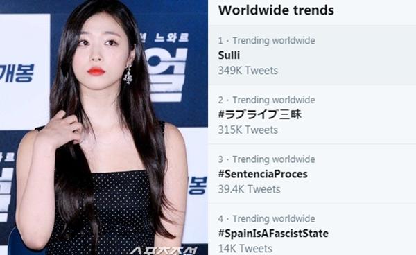 Từ khóa Sulli đang rất nóng trên mạng xã hội.