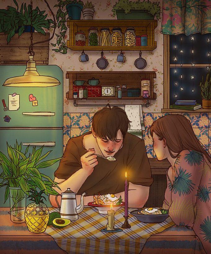 <p> Hạnh phúc vì được trò chuyện và ở bên cạnh nhau.</p>