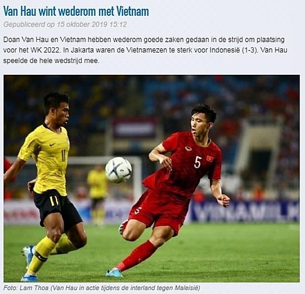 CLB Heerenveen đưa tin về trận bóng Văn Hậu thi đấu. Ảnh gốc: Lâm Thỏa/ VnExpress.