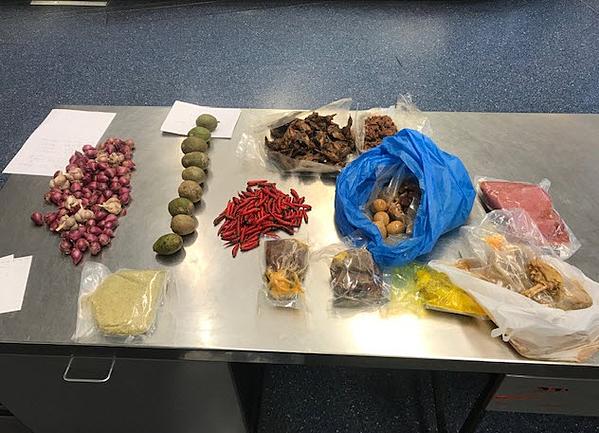 Vali của du khách chứa thịt lợn và nhiều hàng hóa khác như ớt, tỏi, trứng... Ảnh: Department of Agriculture Australia.
