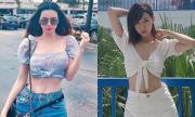 Sao Việt khoe eo bé đến mức mặc quần jeans rộng thênh