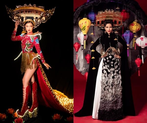 Hai thiết kế dành cho Kiều Loan (trái) và HHen Niê đều có sự đồng điệu về ý tưởng.