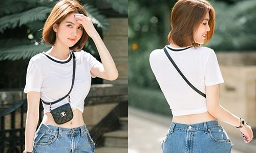 Ngọc Trinh gây hiểu nhầm ''mặc ngược quần jeans''