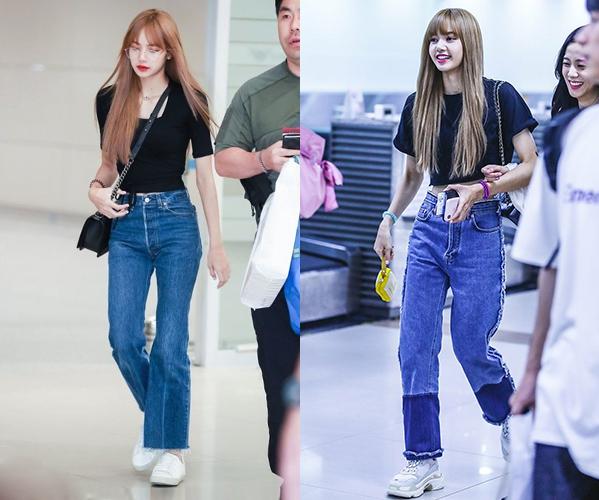 Nhiều fan trầm trồ khi thấy em út Black Pink mặc set đồ ai cũng có là áo phông đen và quần jeans nhưng trông vẫn thần thái ngời ngời.