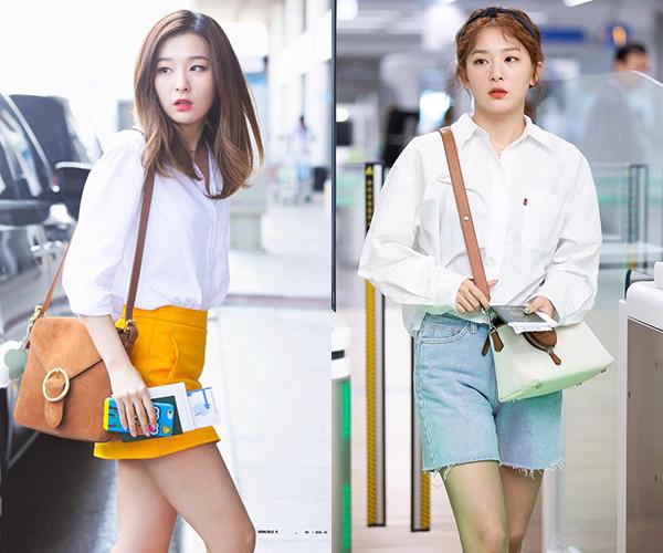 Gương mặt vừa cá tính vừa đáng yêu giúp Seul Gi diện đẹp từ phong cách thanh lịch cho đến ngây thơ như nữ sinh. Những lần mặc sơ mi trắng siêu đơn giản, nữ idol vẫn ghi điểm phong cách.