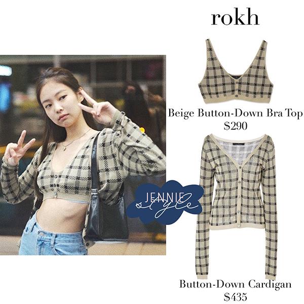 Set áo của nữ idol sang chảnh đến từ thương hiệu Rokh với bratop giá 290 USD (6,7 triệu đồng) và cardigan giá 435 USD (khoảng 10 triệu đồng). Trong khi đó bộ cánh của Chi Pu đến từ nhãn hàng bình dân hơn.