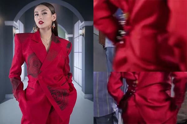 Để có những khoảnh khắc sang chảnh khi lên hình với bộ suit đi mượn, Võ Hoàng Yến phải nhờ tới sự trợ giúp của những chiếc kẹp giấy.