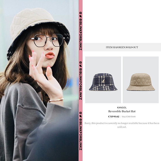 Chiếc mũ bucket mà Lisa đội khi ra sân bay đã ngay lập tức bán hết hàng trên trang web. Sản phầm này có giá 70 USD (khoảng 1,6 triệu đồng)