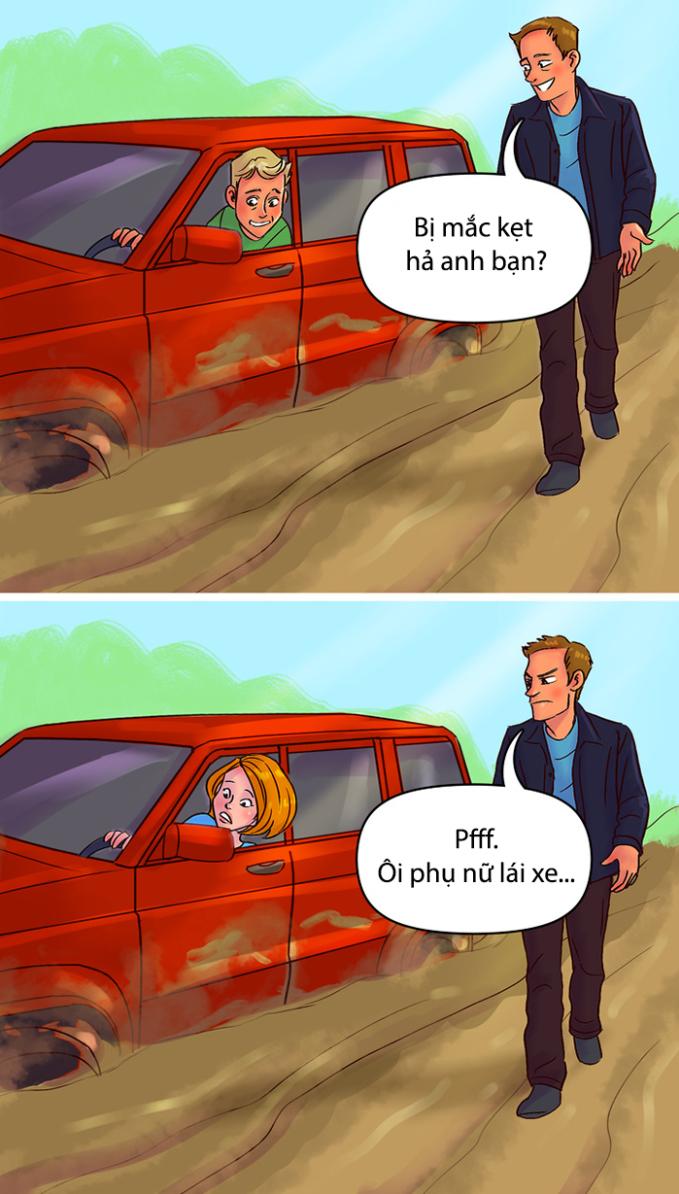 <p> Phụ nữ lái xe luôn bị coi thường hơn đàn ông.</p>