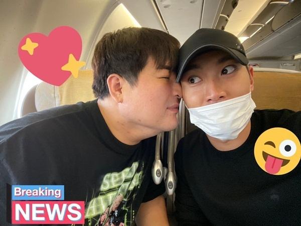 Choi Si Won trợn tròn mắt khi Shin Dong ghé sát mặt thân thiết.